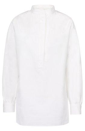 Женская блуза прямого кроя с воротником-стойкой Atlantique Ascoli, цвет белый, арт. 2-0BV7-7-PIQ01 в ЦУМ | Фото №1
