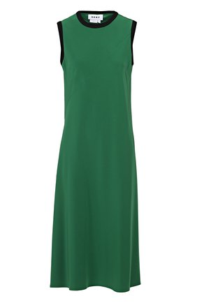 Платье-миди без рукавов с контрастной отделкой