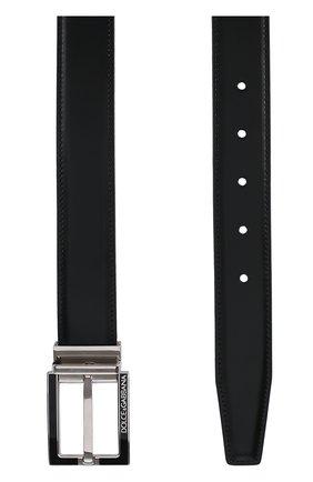 Кожаный ремень с металлической пряжкой Dolce & Gabbana черный | Фото №2