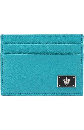 Кожаный футляр для кредитных карт Dolce & Gabbana бирюзового цвета | Фото №1