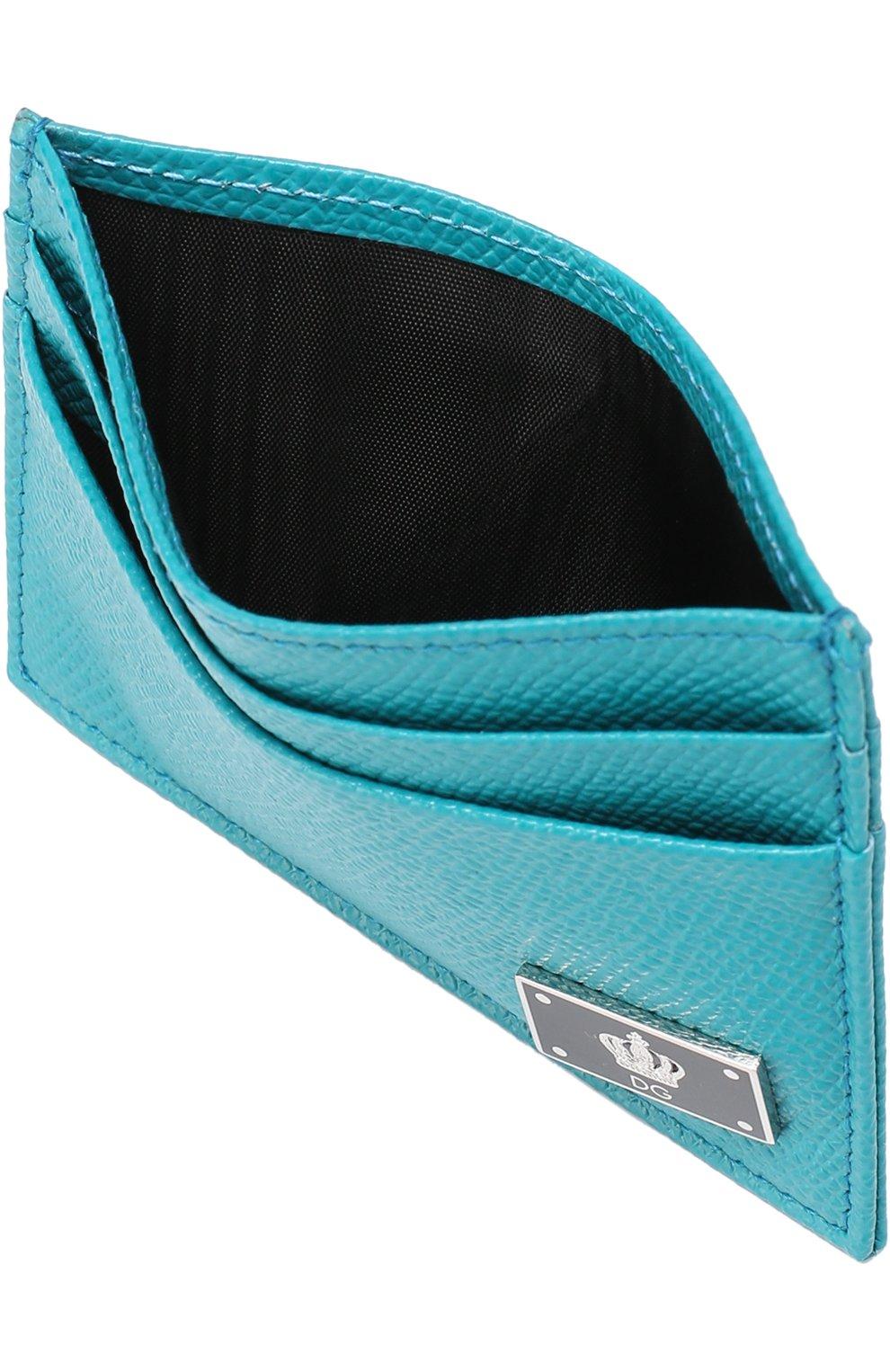 Кожаный футляр для кредитных карт Dolce & Gabbana бирюзового цвета | Фото №3