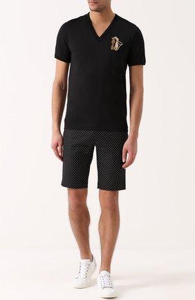 Хлопковые шорты с узором Polka Dot Dolce & Gabbana черные | Фото №2