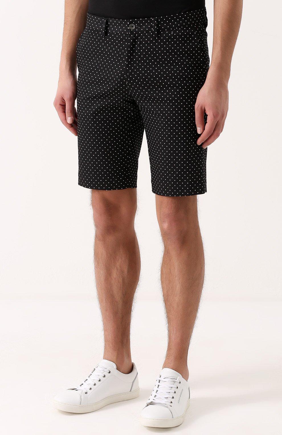 Хлопковые шорты с узором Polka Dot Dolce & Gabbana черные | Фото №3