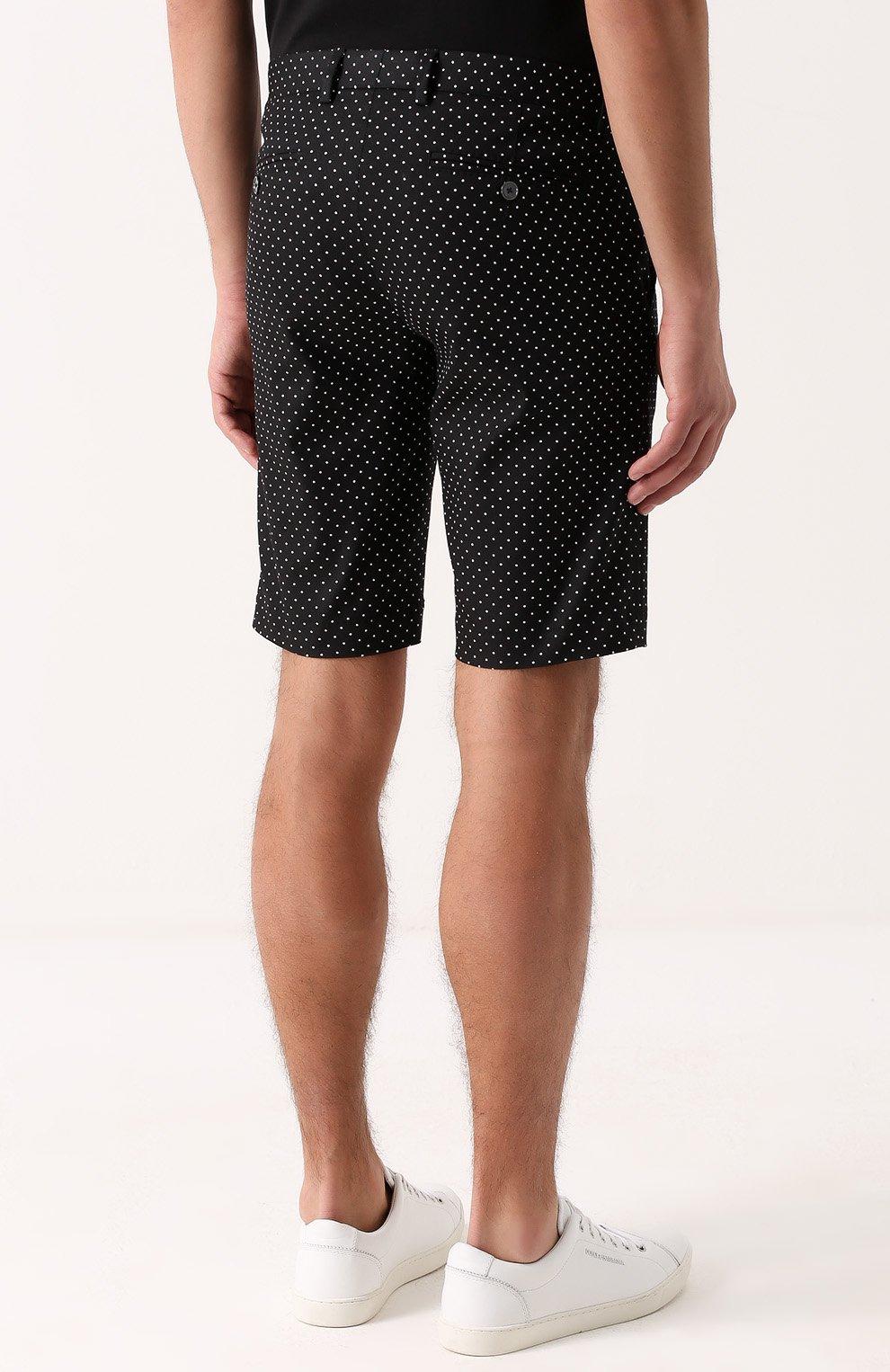 Хлопковые шорты с узором Polka Dot Dolce & Gabbana черные | Фото №4