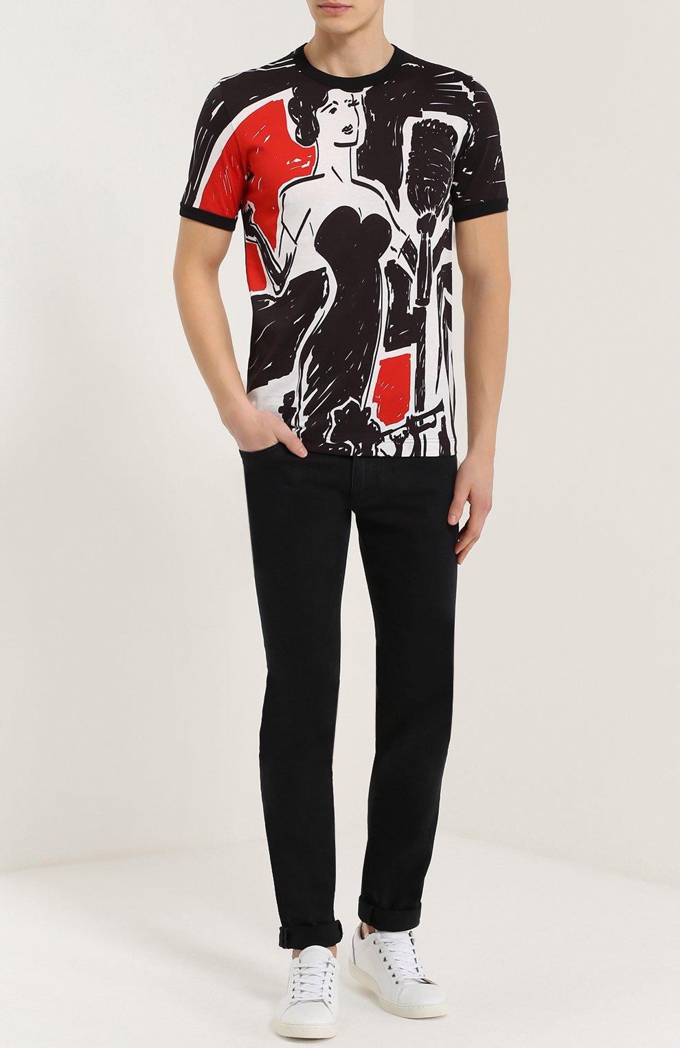 Джинсы-скинни с вышивкой на кармане Dolce & Gabbana черные | Фото №2