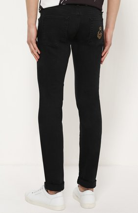 Джинсы-скинни с вышивкой на кармане Dolce & Gabbana черные | Фото №4