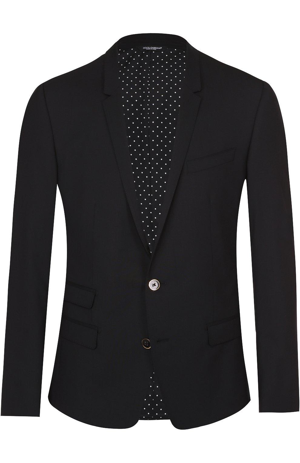Шерстяной приталенный пиджак на двух пуговицах | Фото №1