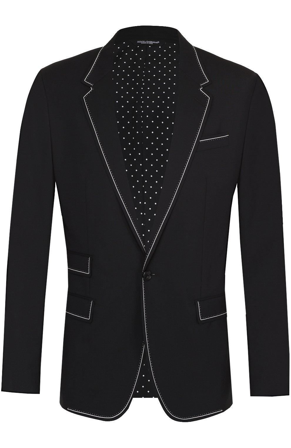 Шерстяной приталенный пиджак с контрастной отделкой   Фото №1