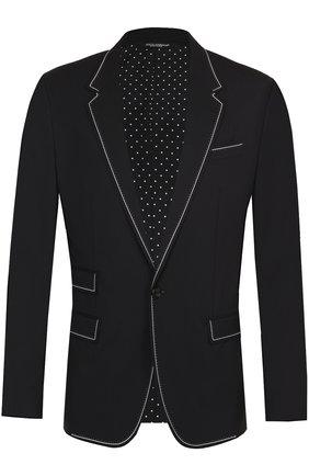 Шерстяной приталенный пиджак с контрастной отделкой Dolce & Gabbana черный   Фото №1
