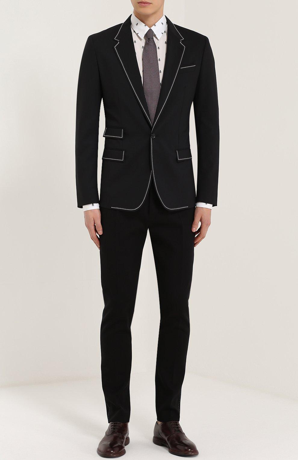 Шерстяной приталенный пиджак с контрастной отделкой Dolce & Gabbana черный   Фото №2