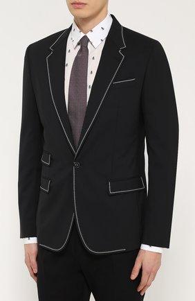 Шерстяной приталенный пиджак с контрастной отделкой Dolce & Gabbana черный   Фото №3