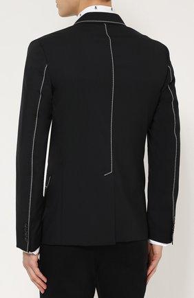 Шерстяной приталенный пиджак с контрастной отделкой Dolce & Gabbana черный   Фото №4