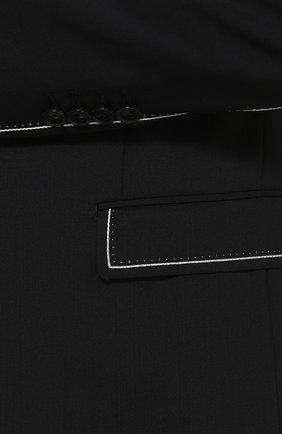 Шерстяной приталенный пиджак с контрастной отделкой Dolce & Gabbana черный   Фото №5