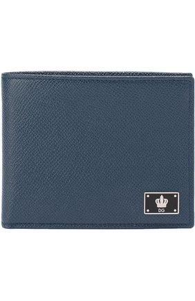 Кожаное портмоне с отделением для кредитный карт Dolce & Gabbana темно-синего цвета | Фото №1