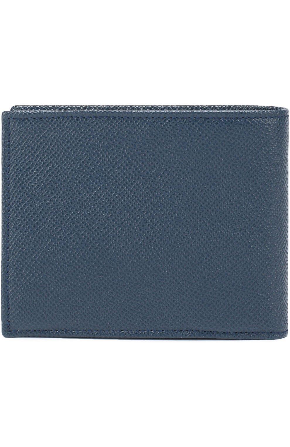 Кожаное портмоне с отделением для кредитный карт Dolce & Gabbana темно-синего цвета | Фото №2