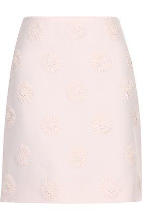 Мини-юбка с фактурной цветочной отделкой   Фото №1
