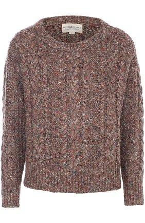 Укороченный пуловер фактурной вязки с круглым вырезом | Фото №1