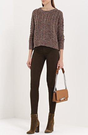 Укороченный пуловер фактурной вязки с круглым вырезом Denim&Supply by Ralph Lauren коричневый   Фото №1