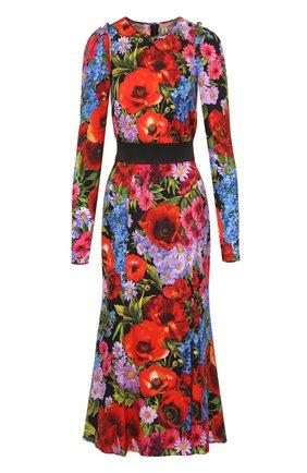 Платье-миди с ярким цветочным принтом и контрастным поясом Dolce & Gabbana разноцветное | Фото №1