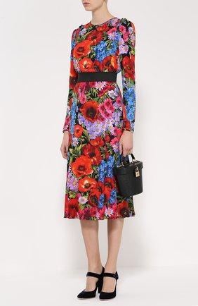 Платье-миди с ярким цветочным принтом и контрастным поясом Dolce & Gabbana разноцветное | Фото №2