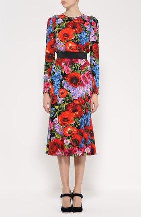 Платье-миди с ярким цветочным принтом и контрастным поясом Dolce & Gabbana разноцветное | Фото №3