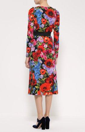 Платье-миди с ярким цветочным принтом и контрастным поясом Dolce & Gabbana разноцветное | Фото №4