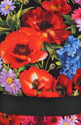 Платье-миди с ярким цветочным принтом и контрастным поясом Dolce & Gabbana разноцветное | Фото №5