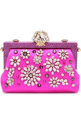 Клатч Vanda с вышивкой кристаллами Dolce & Gabbana фуксия цвета | Фото №1