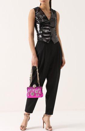 Клатч Vanda с вышивкой кристаллами Dolce & Gabbana фуксия цвета | Фото №2