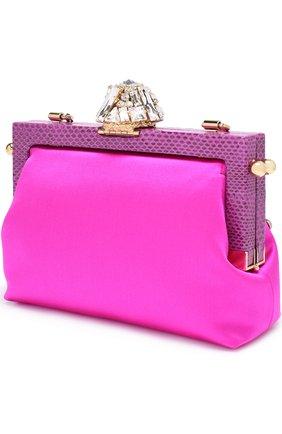 Клатч Vanda с вышивкой кристаллами Dolce & Gabbana фуксия цвета | Фото №3