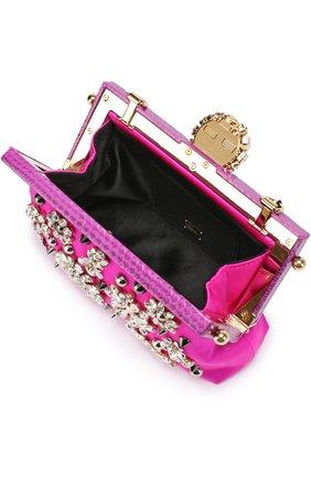 Клатч Vanda с вышивкой кристаллами Dolce & Gabbana фуксия цвета | Фото №4