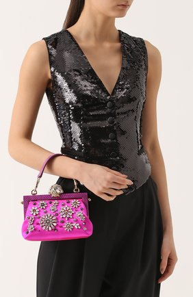 Клатч Vanda с вышивкой кристаллами Dolce & Gabbana фуксия цвета | Фото №5