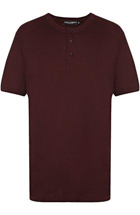 Хлопковая футболка хенли Dolce & Gabbana бордовая | Фото №1