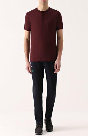 Хлопковая футболка хенли Dolce & Gabbana бордовая | Фото №2