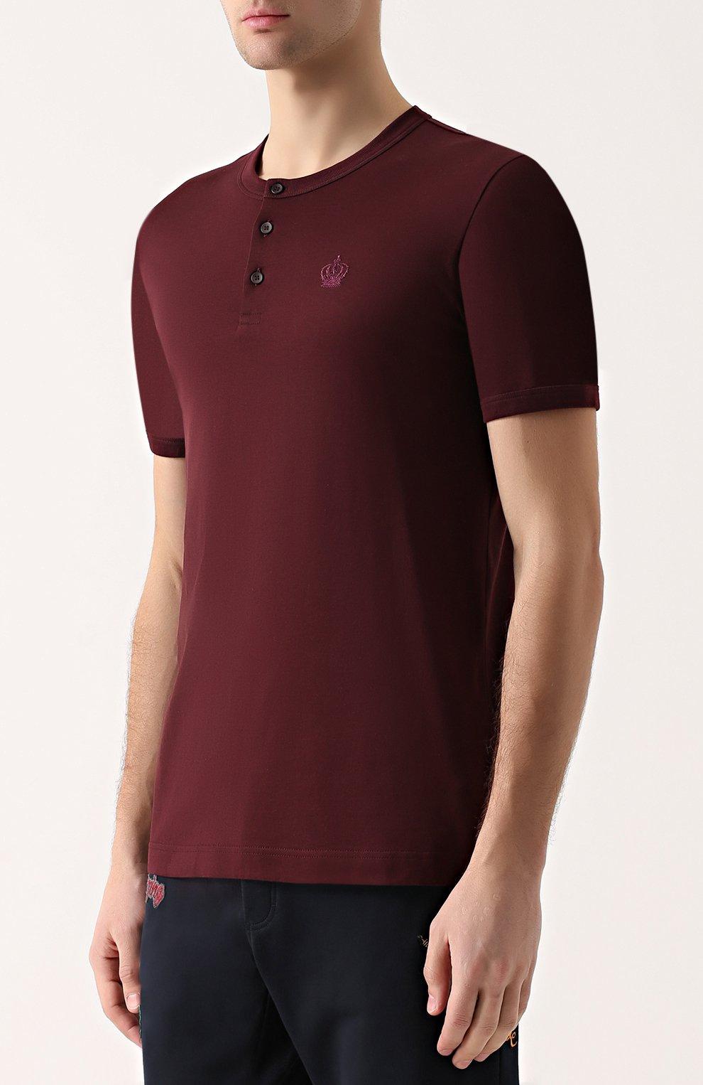 Хлопковая футболка хенли Dolce & Gabbana бордовая | Фото №3