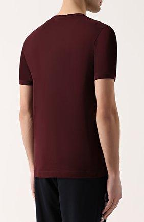 Хлопковая футболка хенли Dolce & Gabbana бордовая | Фото №4