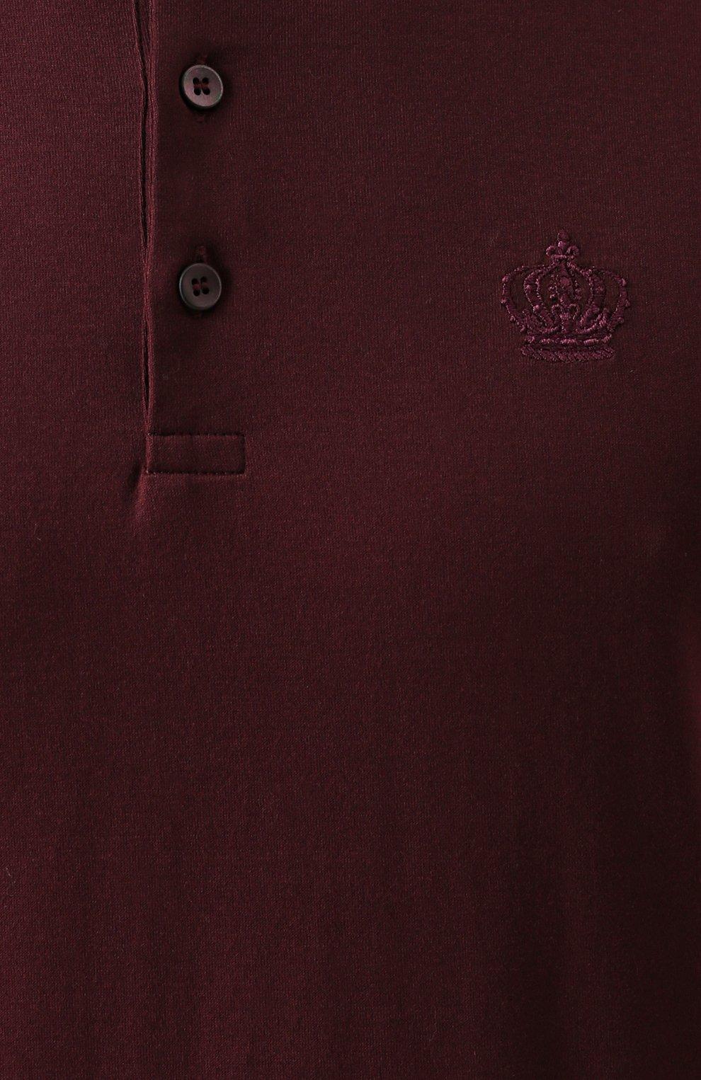 Хлопковая футболка хенли Dolce & Gabbana бордовая | Фото №5