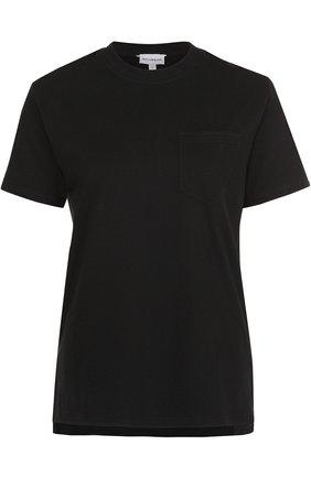 Хлопковая футболка с круглым вырезом и накладным карманом   Фото №1