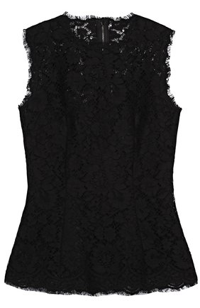 Приталенный кружевной топ без рукавов Dolce & Gabbana черный | Фото №1