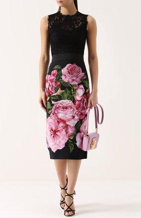 Приталенный кружевной топ без рукавов Dolce & Gabbana черный | Фото №2