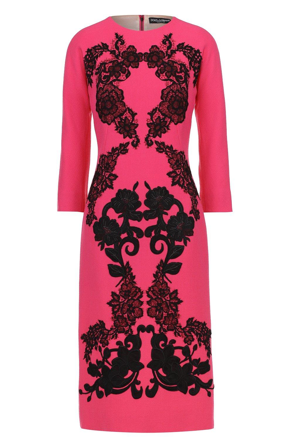Платье-миди с укороченным рукавом и контрастной кружевной отделкой   Фото №1