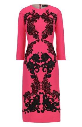 Платье-миди с укороченным рукавом и контрастной кружевной отделкой Dolce & Gabbana фуксия   Фото №1