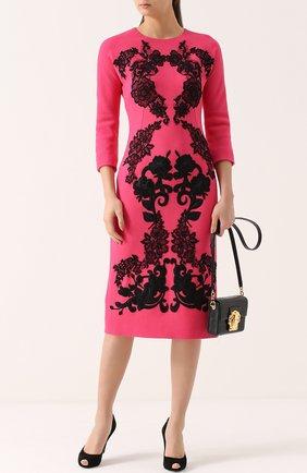Платье-миди с укороченным рукавом и контрастной кружевной отделкой Dolce & Gabbana фуксия   Фото №2
