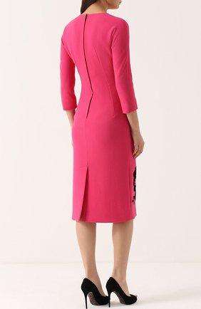 Платье-миди с укороченным рукавом и контрастной кружевной отделкой Dolce & Gabbana фуксия   Фото №4
