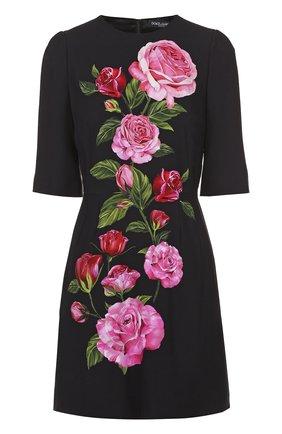 Приталенное мини-платье с цветочным принтом Dolce & Gabbana розовое | Фото №1