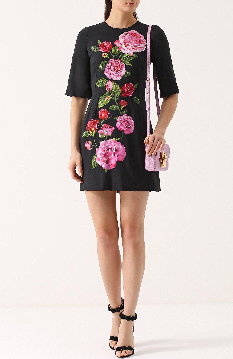 Приталенное мини-платье с цветочным принтом Dolce & Gabbana розовое | Фото №2