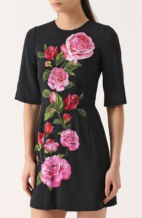 Приталенное мини-платье с цветочным принтом Dolce & Gabbana розовое | Фото №3