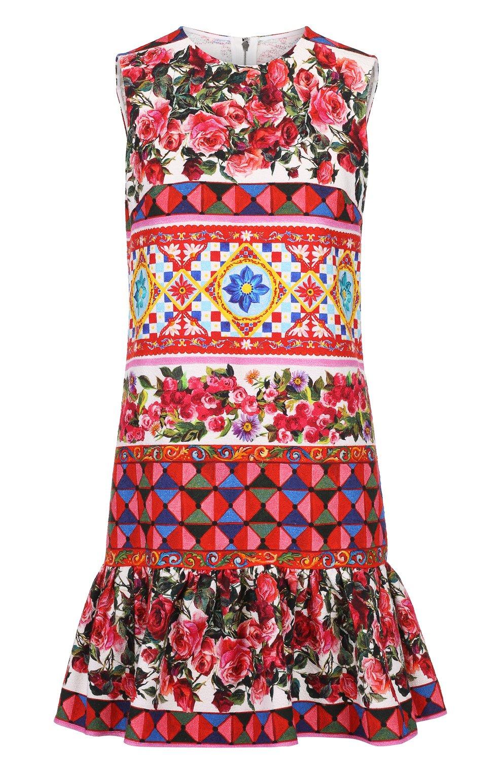 Платье А-силуэта с ярким принтом и оборкой | Фото №1