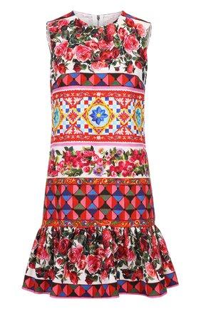 Платье А-силуэта с ярким принтом и оборкой Dolce & Gabbana разноцветное | Фото №1