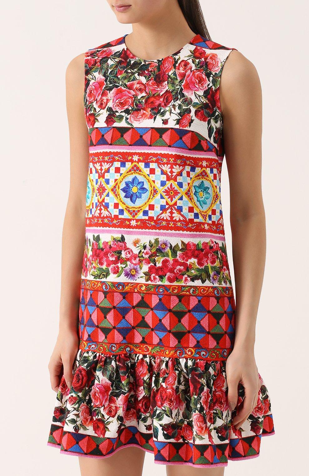 Платье А-силуэта с ярким принтом и оборкой Dolce & Gabbana разноцветное | Фото №3